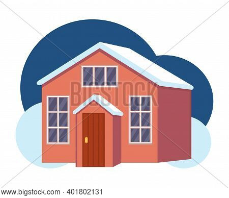 Cartoon Colorful Night Town House With Attic. Suburban Loft Home Ready To Rent. Vector Illustration