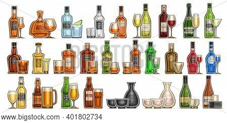 Vector Alcohol Set, Variety Cut Out Illustrations Of Hard Spirit Drinks In Bottles And Glasses, Red