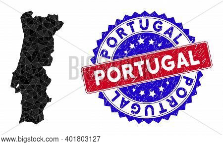 Portugal Map Polygonal Mesh With Filled Triangles, And Grunge Bicolor Stamp. Triangle Mosaic Portuga