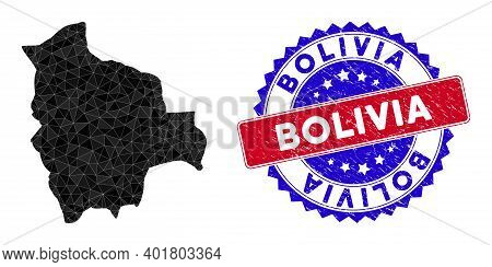 Bolivia Map Polygonal Mesh With Filled Triangles, And Distress Bicolor Seal. Triangle Mosaic Bolivia