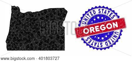 Oregon State Map Polygonal Mesh With Filled Triangles, And Distress Bicolor Stamp Seal. Triangle Mos