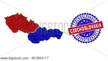 Czechoslovakia Map Polygonal Mesh With Filled Triangles, And Rubber Bicolor Rubber Seal. Triangle Mo