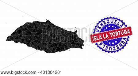 Isla La Tortuga Map Polygonal Mesh With Filled Triangles, And Distress Bicolor Stamp Seal. Triangle