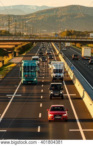 Graz, Austria 14.10.2020 View At Busy Highway Graz To Maribor And Zagreb In Styria E59 A9. Car Polut