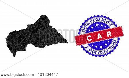 Central African Republic Map Polygonal Mesh With Filled Triangles, And Distress Bicolor Watermark. T