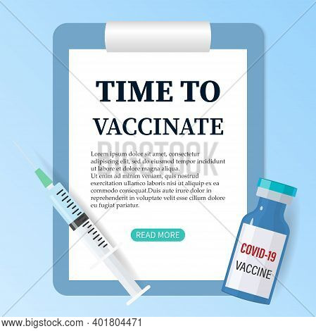Vaccination Against Covid-19. It's Time To Get Vaccinated. Vector Illustration Of A Syringe With A V