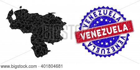 Venezuela Map Polygonal Mesh With Filled Triangles, And Distress Bicolor Seal. Triangle Mosaic Venez