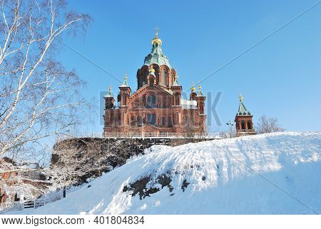 Finland, Helsinki. Orthodox Assumption Cathedral On A Sunny Winter Day