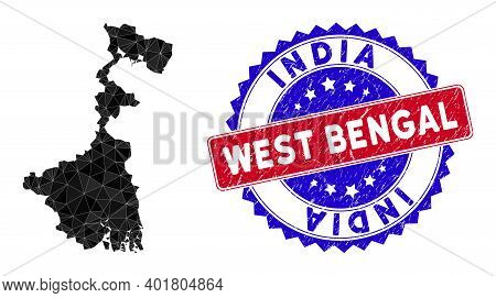 West Bengal State Map Polygonal Mesh With Filled Triangles, And Unclean Bicolor Stamp Seal. Triangle