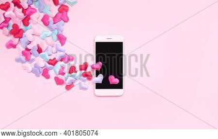 Horizontal Romantic Theme Mobile Wallpaper. Valentines Day Banner 2021. 14 February Date. Love Messa