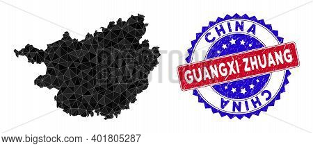 Guangxi Zhuang Region Map Polygonal Mesh With Filled Triangles, And Distress Bicolor Stamp Seal. Tri