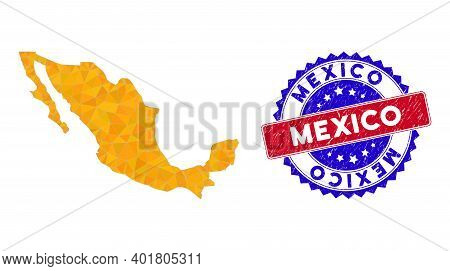 Mexico Map Polygonal Mesh With Filled Triangles, And Distress Bicolor Stamp Seal. Triangle Mosaic Me