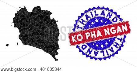 Ko Pha Ngan Map Polygonal Mesh With Filled Triangles, And Rubber Bicolor Rubber Seal. Triangle Mosai
