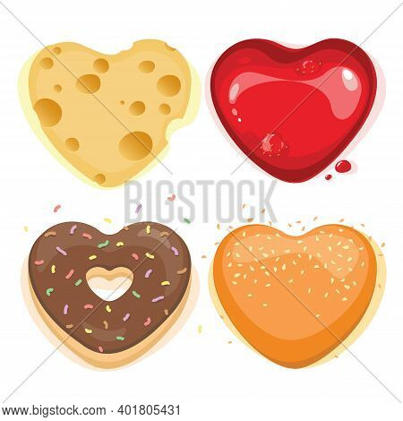 Vector Set Of Heart Shaped Buns, Heart Shaped Jam With A Drop, Donut In Chocolate, Sesame Seed Bun,
