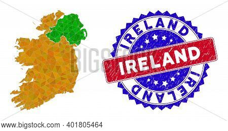 Ireland Countries Map Polygonal Mesh With Filled Triangles, And Grunge Bicolor Stamp Seal. Triangle