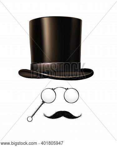 British Gentleman Vintage Head Elements Set. Black Tophat, Glasses, Moustache On White Background. R