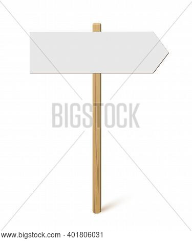 Signpost With Blank Direction Sign On Road. Wooden Stick With White Arrow Board Vector Illustration.