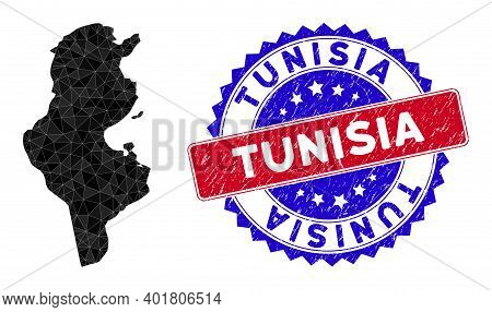 Tunisia Map Polygonal Mesh With Filled Triangles, And Rough Bicolor Stamp Print. Triangle Mosaic Tun