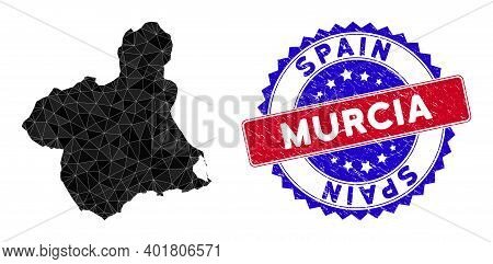 Murcia Province Map Polygonal Mesh With Filled Triangles, And Rough Bicolor Stamp Seal. Triangle Mos