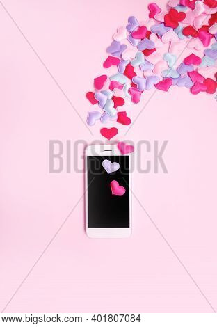 Vertical Romantic Theme Mobile Wallpaper. Valentines Day Banner 2021. 14 February Date. Love Message