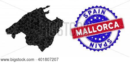 Mallorca Map Polygonal Mesh With Filled Triangles, And Textured Bicolor Rubber Seal. Triangle Mosaic