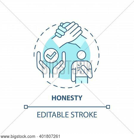 Honesty Concept Icon. Journalistic Ethics Standards Idea Thin Line Illustration. Identifying Sources