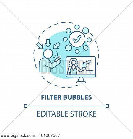 Filter Bubbles Concept Icon. Journalism Challenge Idea Thin Line Illustration. Website Algorithm. Al