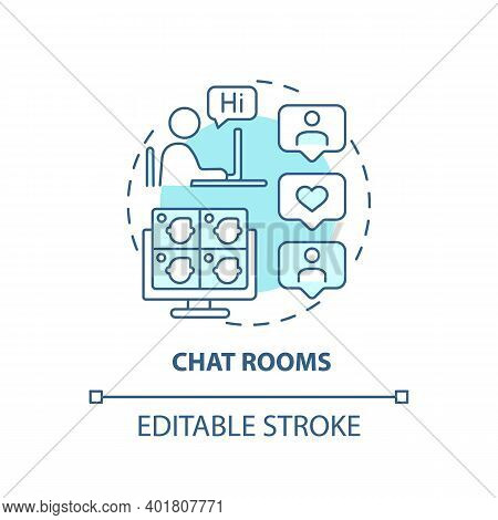 Chat Rooms Concept Icon. New Media Example Idea Thin Line Illustration. Synchronous Conferencing. Te