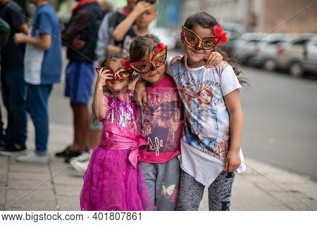 Brno, Czech Republic. 06-11-2016. Children With Macks Having Fun At A Festival Of Roma People (gypsi
