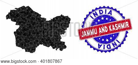 Jammu And Kashmir State Map Polygonal Mesh With Filled Triangles, And Unclean Bicolor Stamp Imitatio