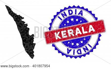 Kerala State Map Polygonal Mesh With Filled Triangles, And Distress Bicolor Stamp Seal. Triangle Mos