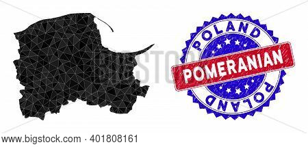 Pomeranian Voivodeship Map Polygonal Mesh With Filled Triangles, And Textured Bicolor Stamp. Triangl