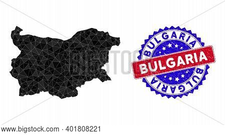 Bulgaria Map Polygonal Mesh With Filled Triangles, And Rough Bicolor Stamp Imitation. Triangle Mosai