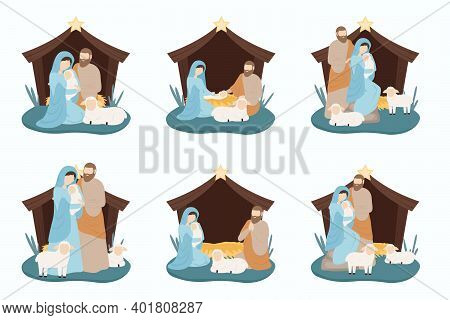 Nativity Scene With Baby Jesus. Christmas 2021. Vertyp With Mary And Joseph Birth Of Jesus In A Stab