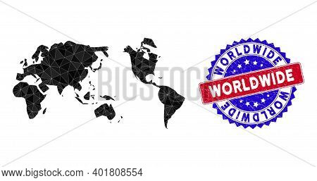Worldwide Map Polygonal Mesh With Filled Triangles, And Rubber Bicolor Rubber Seal. Triangle Mosaic
