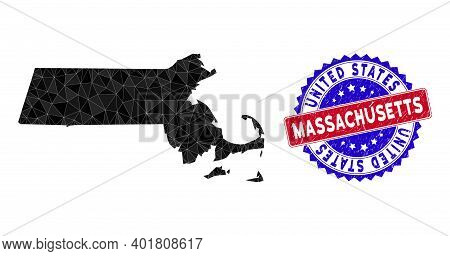 Massachusetts State Map Polygonal Mesh With Filled Triangles, And Rubber Bicolor Watermark. Triangle