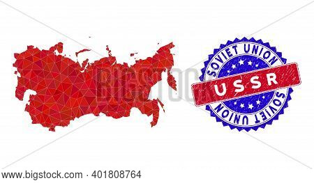 Ussr Map Polygonal Mesh With Filled Triangles, And Rough Bicolor Stamp Seal. Triangle Mosaic Ussr Ma