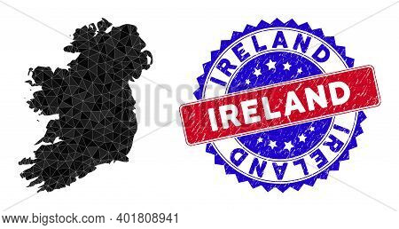 Ireland Island Map Polygonal Mesh With Filled Triangles, And Textured Bicolor Stamp. Triangle Mosaic