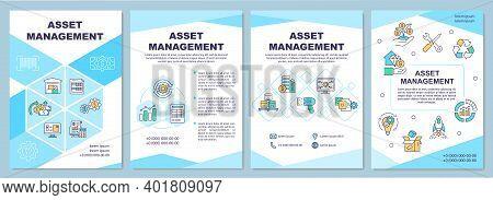 Asset Management Brochure Template. Business Finance. Flyer, Booklet, Leaflet Print, Cover Design Wi