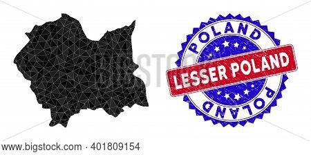 Lesser Poland Voivodeship Map Polygonal Mesh With Filled Triangles, And Scratched Bicolor Stamp Seal