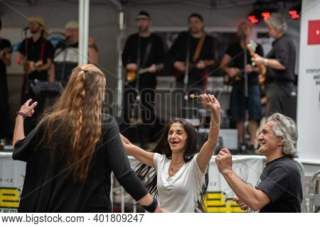 Brno, Czech Republic. 06-11-2016. Gypsy People Dancing At A Festival Of Roma People (gypsies) In Brn