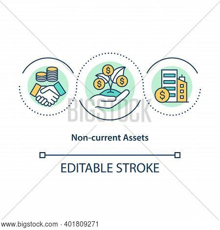 Non Current Assets Concept Icon. Long Term Plan For Earning Money. Increase Income. Business Service