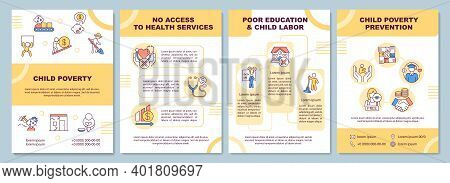 Child Poverty Brochure Template. Children Protection. Flyer, Booklet, Leaflet Print, Cover Design Wi