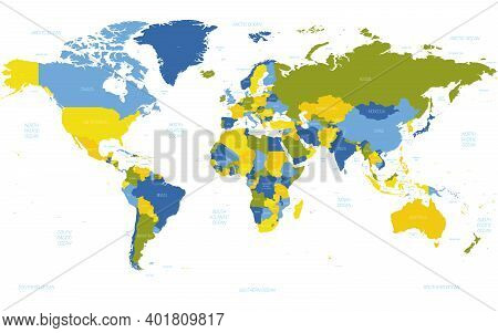 World Map. High Detailed Political Map Of World With Country, Ocean And Sea Names Labeling. 5 Colors