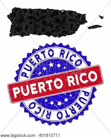 Puerto Rico Map Polygonal Mesh With Filled Triangles, And Scratched Bicolor Rubber Seal. Triangle Mo