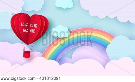 Valentine S Day Background With Heart Shaped Balloon Flying Through The Clouds. Romantic Paper Art I