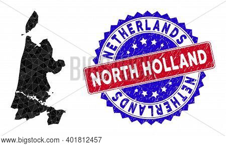North Holland Map Polygonal Mesh With Filled Triangles, And Rough Bicolor Seal. Triangle Mosaic Nort