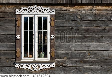 Wooden Window Background. Rustic Cottage House Wall. Vintage Cabin White Paint Shutters. Countryside