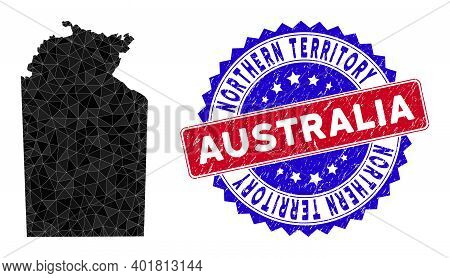 Australian Northern Territory Map Polygonal Mesh With Filled Triangles, And Scratched Bicolor Waterm