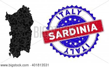 Italian Sardinia Island Map Polygonal Mesh With Filled Triangles, And Unclean Bicolor Stamp Seal. Tr
